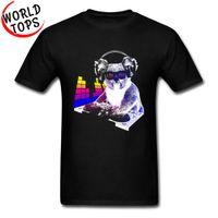 dj mini denetleyici toptan satış-DJ Kaya Koala T-Shirt Müzik Kontrol Ünitesi Moda Serin Erkekler Tişörtleri Komik Hayvan Pamuk Hip Hop Bas Bant Caz Tişörtleri erkekler