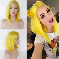 Wholesale cosplay hairstyles for women resale online - Fashion Yellow Wig Synthetic Swiss Lace Front Wigs Glueless Short Bob Hairstyle Full Wig for White Women Silky Straight Hair Daily Cosplay