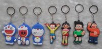 Wholesale doraemon soft toy resale online - Hot Sale Anime Doraemon Figures Soft Rubber Model Toy Cell Phone Keychain Keyring Pendant Kids Friends Gift