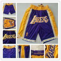 pantalones cortos de lebron al por mayor-Los Ángeles James Rwtw Shorts Just Don Lebron LAL Basketball Pants Retro FOG Malla deportiva LBJ Ball Pants