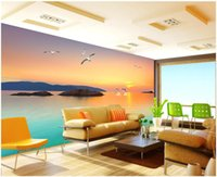 Wholesale korean wedding photos for sale - Group buy WDBH custom photo mural d wallpaper Romantic and warm seaside scenery tv background wall home decor living room wallpaper for walls d