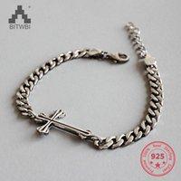cruces de plata de ley de la vendimia al por mayor-2018 Nueva 925 Joyas de plata esterlina Personalidad de moda vintage Christian Cross Charm Bracelet