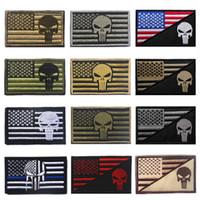patchs de punition achat en gros de-Patch brodé par les États-Unis Drapeau + Patch tactique Punisher 3D Appliqué brodé au crochet Boucle Morale Insigne de casquette WWA206