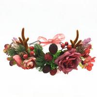 baş bantları için çiçek başları toptan satış-Toptan Noel saç aksesuarları Boynuzları Kafa Garland Düğün Saç Aksesuarları Yeni Yıl Çiçek Çelenk Kadın Baş aşınma