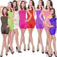 naylon kadın iç çamaşırı toptan satış-Yeni Bayan Straplez Naylon Fishnet Chemise Pijama Lingerie Nighties Kadınlar Için Mini Elbise Etekler Bir Boyut Seksi Örgü Bebek Bebek Elbise
