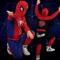 мальчики паук человек толстовки оптовых-Мальчики Marvel Spider-Man 2pcs набор 2019 новых детей Avenger косплей мультфильм паук толстовки топы + брюки наборы одежды B