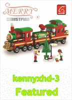 Wholesale science block for sale - Group buy Christmas train puzzle assembling building blocks green plastic DIY small particles building blocks science and education toys