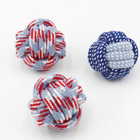 Wholesale plastic training balls resale online - Pet toy ball dog cotton rope ball cm cotton rope knot golden hair than bear training dog toy tooth grinding tool