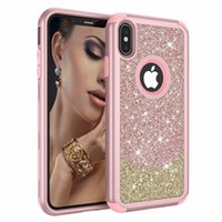 Wholesale gold beetle for sale - Group buy Luxury Sparkle Hybrid Hard Case For Iphone XR XS MAX X SE Plastic Shockproof Dual Glitter Beetle Armor in1 Bling Denfender Cover