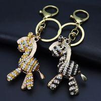 Wholesale best car keyrings resale online - Gold Lovely Zodiac Rhinestone Crystal Horse Key Chain Keyring for Women Handbag Charm Key Holder Fashion Keychains Car Best Gift