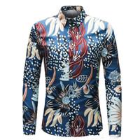 vestido de impressão de água venda por atacado-Camisa dos homens 3D Água Grama Imprimir Camisa Dos Homens de Manga Longa Slim Fit Vestido Homem Tops M-4XL