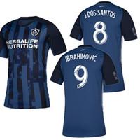 Wholesale la galaxy away jersey for sale - Group buy MLS Los Angeles Galaxy away Soccer Jersey LA GALAXY away blue Soccer Shirt Customized IBRAHIMOVIC men football shirts