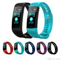 Wholesale electronic trackers resale online - Y5 Smart Wristband Electronics Bracelet Color LCD Watch Activity APP Fitness Tracker Blood Pressure Heart Rate IP67 Waterproof Sports Band