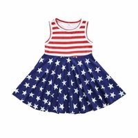 Wholesale 4th july dresses for sale - Group buy Baby Striped Sleeveless Dress Girl Stars Splice Dress American Flag Independence National Day USA th July Kids Boat Neck Princess Skirt