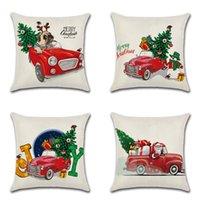 ingrosso cuscino rosso cane-Caso Cuscino di Natale Cute Dog Cartone Animato Rosso Cuscino Auto Copre Xmas Tree Divano Auto Cushion Covers 18x18 standard