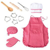 çocuklar önlük seti toptan satış-11 Adet Şef Set Koruyucu Komple Toksik Olmayan Hafif Dayanıklı Mutfak Takım Playset Oynayan Çocuklar için Mutfak Pişirme Öğrenme Önlük