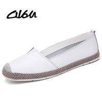 повседневная обувь для балерины оптовых-O16U Genuine Leather Shoes Women Ballet Flats Loafers Summer Moccasins Ladies Slip On Casual Flat Shoes Ballerina Flats Zapatos