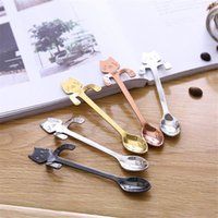 stainless steel kitchen handles for großhandel-Neue Edelstahl Kaffee Tee Löffel Mini Katze Langen Griff Kreative Löffel Trinkwerkzeuge Küchenhelfer Besteck Geschirr