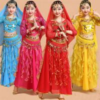bollywood tanzmädchen kostüme großhandel-Mädchen Professionelle Indien Dancewear Kinder Bauchtanz Kostüme Für Mädchen Ägypten Bauchtanz Kostüm Für Mädchen Bollywood Dance