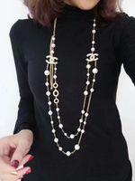 elmas kadın kazak toptan satış-Kadın Moda 18 K Altın Kolye Doğal Inci Kolye Kazak Katmanlı Elmas Kolye Ithalat Kristal Broş Gelin Takı