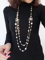 Wholesale imported jewelry necklace for sale - Group buy Women Fashion K Gold Necklace Natural Pearl Necklace Sweater Multilayer Diamond Necklace Import Crystal Brooch Bridal Jewelry