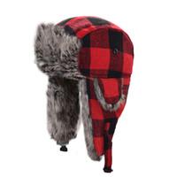 Kopfbedeckungen Für Herren Winter Neue Ankunft Männlichen Und Weiblichen Hut Thermische Wolle Hut Pilot Bomber Hüte Einstellbare Pelz Caps Bomber Hüte