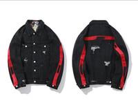 ingrosso jeans neri per le signore-Giacca firmata di moda da uomo di WHITE giacca denim da equitazione nera Giacca a righe con lettere rosse a righe da donna pilota giacca di jeans di lusso M-2XL