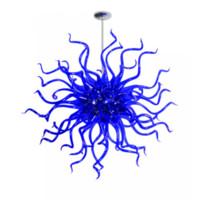 açık mavi cam avize toptan satış-Modern Sanat Avize Aydınlatma Mavi Renk El Üflemeli Cam Kristal Avize Oturma Odası Yemek Odası için Asılı Kolye Işık LED