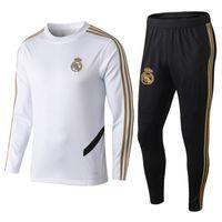 mens tam takım elbise toptan satış-19 20 Real Madrid Futbol Eşofman Yuvarlak Yaka Futbol Eğitimi Takım Tam Kollu Spor Kazak Uzun Pantolon Erkek Açık Spor Setleri