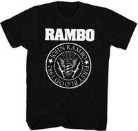 film amblemi toptan satış-Erkek tasarımcı t shirt gömlek Rambo İlk Kan Daire Amblem 1982 Yetişkin T Gömlek Büyük Film