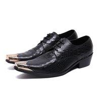 zapatos de acero con punta de los hombres al por mayor-Zapatos de hombre Patrón de cocodrilo de cuero genuino Hombres impresos Moda casual Zapatos de cuero de ocio Mocasines de punta puntiaguda de acero