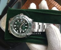 keramik uhren bands für männer großhandel-Luxus Mens Automatic Cal.3135 Uhr Eta Men Green Ceramic Lünette DJ Factory 904L Stahl Solid Band Armband 116610LV Dive Perpetual Uhren