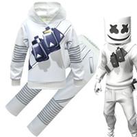 máscara de impressão venda por atacado-Marshmello DJ meninos roupas 2019 Primavera Outono Impressão Hoodies Tops + calças com conjuntos de máscara de moda crianças ternos Conjuntos de Roupas Infantis C6475