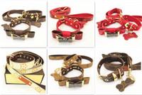 colarinho venda por atacado-Cão de estimação de Tracção de Segurança Do Cão Pet Leash Pequeno Cão ID Tag Collar Leash Set Alta Qualidade Impressão Estrela Acessório de produto