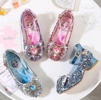 туфли на высоких каблуках для детей оптовых-Девушки высокие каблуки 2020 осень новые детские принцесса обувь лед снег Циюань Айша обувь маленькая девочка один кусок волос замена размер 23-36