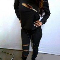ingrosso maglioni di pile calde-Hot Europa marca primavera autunno Moda Donna Maglione Jogger Sport Tuta Felpa in pile Felpa con cappuccio Camicetta Plus Pantaloni Suit