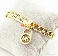 ingrosso braccialetti dorati coreani placcati-Coreano piatto oro rosa 18 carati oro bianco moda braccialetto femminile modelli acqua onda braccialetto lettera logo braccialetto prezzo basso b026