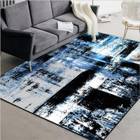 malen teppich großhandel-AOVOLL Teppich Schlafzimmer Moderne Abstrakte Kunst Ölgemälde Aquarell Blau Schwarz Schlafzimmer Wohnzimmer Küche Teppich Bodenmatte Teppiche