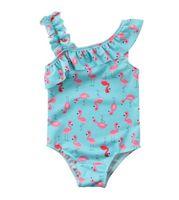 ingrosso bikini per bambini-Toddler Baby Ragazza per bambini Flamingo Print Tutu Costume da bagno Costumi da bagno Beachwear Tuta senza maniche Increspature Bikini Costume da bagno Taglie 3-7T