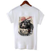 blousons blancs femmes achat en gros de-Hillbilly J-86 T-shirts de style japonais, samouraï noir et blanc imprimé, maillot pour femme, style décontracté, col rond