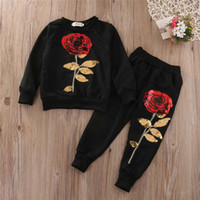 Wholesale Kids Children S Sets Girl Suits Childrens Clothes Girls Tracksuit Kids Clothing Rose Sequin Print Hoodies Toddler Girl Clothing Set Y
