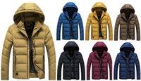 ingrosso giacca invernale a colori-mens designer cappotti invernali manica lunga giacche calde con cappuccio tuta sportiva di colore solido nuovo stile moda multicolor uomo s abbigliamento caldo klw0007