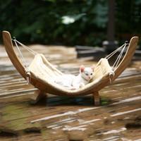 casa de gato de madera al por mayor-Suministros para mascotas Hamaca Cama de madera maciza Gato Perro Hamaca Cama para perros Perro Gato Swing House Juguete al aire libre al aire libre