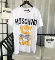женские досуг шорты оптовых-2019 мода 19ss женщины дизайнер футболка стиль женские топы Doodling мишка отдыха футболка свободного покроя с коротким рукавом о шеи женская одежда
