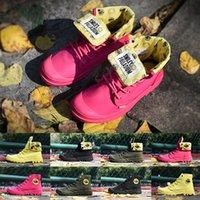 botas brillantes al por mayor-2019 Diseñador Hombres Zapatos PALLADIUM Cara sonriente Botines Brillante Amarillo Verde Rosa Negro Mujer Diseñador Diseñador de deporte al aire libre Zapatilla de deporte