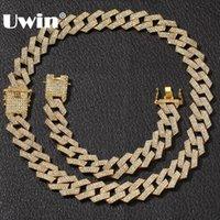 conjuntos de colar cheio venda por atacado-UWIN NE + BA 20 milímetros Cadeia Miami Prong cubana 3 Linha Ouro Full Color Iced Out Pedrinhas Colar Bracelet Mens Hiphop Set Jóias