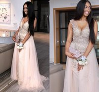 Wholesale baby dresses special occasions for sale - Group buy African Baby Pink Mermaid Prom Dresses V Neck See Through Major Beading Sweep Train Long Formal Evening Party Gowns Special Occasion Dress