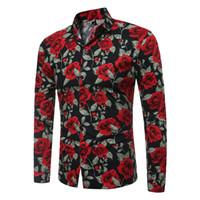 çiçek zayıf fit erkek gömlek toptan satış-Bahar Çiçek Baskılı Gömlek Erkekler için Yeni Moda Uzun Kollu Çiçek Erkek Gömlek Erkek Slim Fit Casual Erkek Gömlek