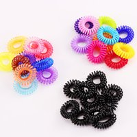 Wholesale new telephones resale online - 10PCS New cm Small Telephone Line Hair Ropes Girls Colorful Elastic Hair Bands Kid Ponytail Holder Tie Gum Accessories