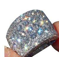 anéis de 16mm venda por atacado-16mm de largura big zircon anéis de noivado de diamante de luxo chapeamento de platina banda para mulheres dos homens 925 jóias